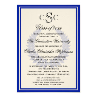 Blue Monogram Laurel Classic College Graduation Card