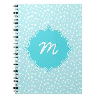 Blue Monogram Messy Dots Quatrefoil Spiral Notebook