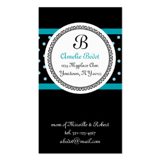blue MONOGRAM mommy calling card Double-Sided Standard Business Cards (Pack Of 100)
