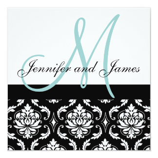 "Blue Monogram Names Damask Wedding Invitation 5.25"" Square Invitation Card"