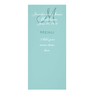 Blue Monogram Names Date Wedding Menu Cards