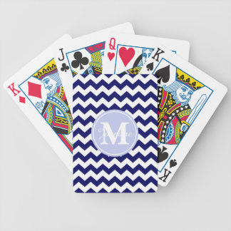 Blue Monogram Navy White Chevron Zigzag Stripe Bicycle Playing Cards
