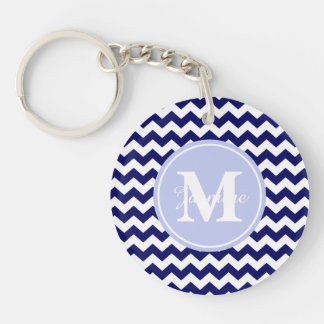 Blue Monogram Navy White Chevron Zigzag Stripe Double-Sided Round Acrylic Keychain