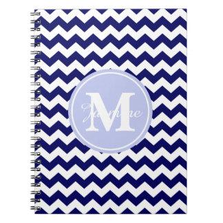 Blue Monogram Navy White Chevron Zigzag Stripe Spiral Notebooks