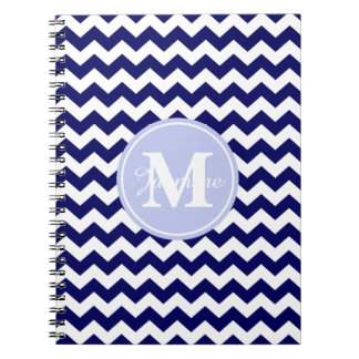 Blue Monogram Navy White Chevron Zigzag Stripe Spiral Note Books