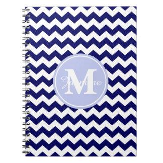 Blue Monogram Navy White Chevron Zigzag Stripe Spiral Notebook