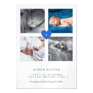 Blue Monogram Photo Collage Baby Announcement