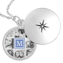 Blue Monogram Photo Collage Silver Plated Necklace