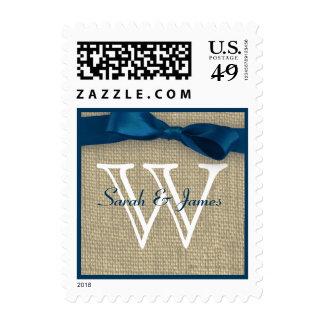Blue Monogram Ribbon and Burlap Love Postage Stamp