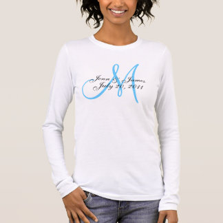 Blue Monogram Wedding Announcement T-Shirt