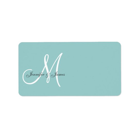Blue Monogram Wedding Invitation Address Labels