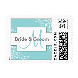 Blue Monogram Wedding Stamps - small size