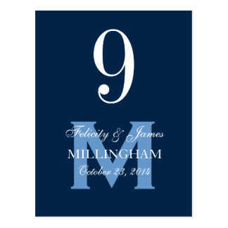 Blue Monogram  Wedding Table Number Card 9A Postcard