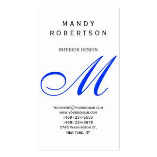 Blue Monogram White Interior Design Business Card