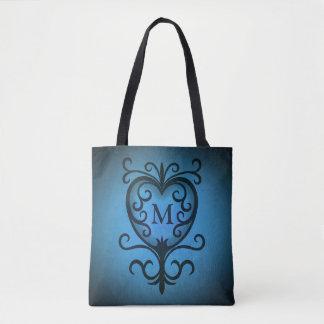 Blue monogrammed heart tote bag