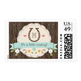 Blue Monogrammed Horseshoe Baby Postage Stamp