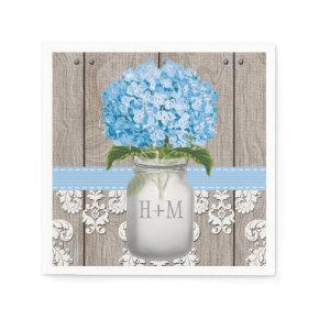 Blue Monogrammed Hydrangea Mason Jar Standard Cocktail Napkin