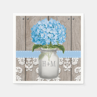 Blue Monogrammed Hydrangea Mason Jar Paper Napkins