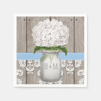 Blue Monogrammed Hydrangea Mason Jar Disposable Napkin