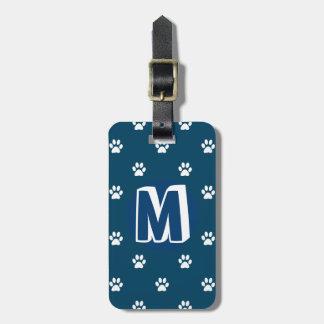 Blue Monogrammed Pet Luggage Tag