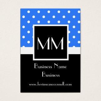 Blue monogrammed polka dot business card