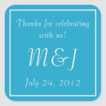Blue Monogrammed Wedding Favor Label Stickers Stickers