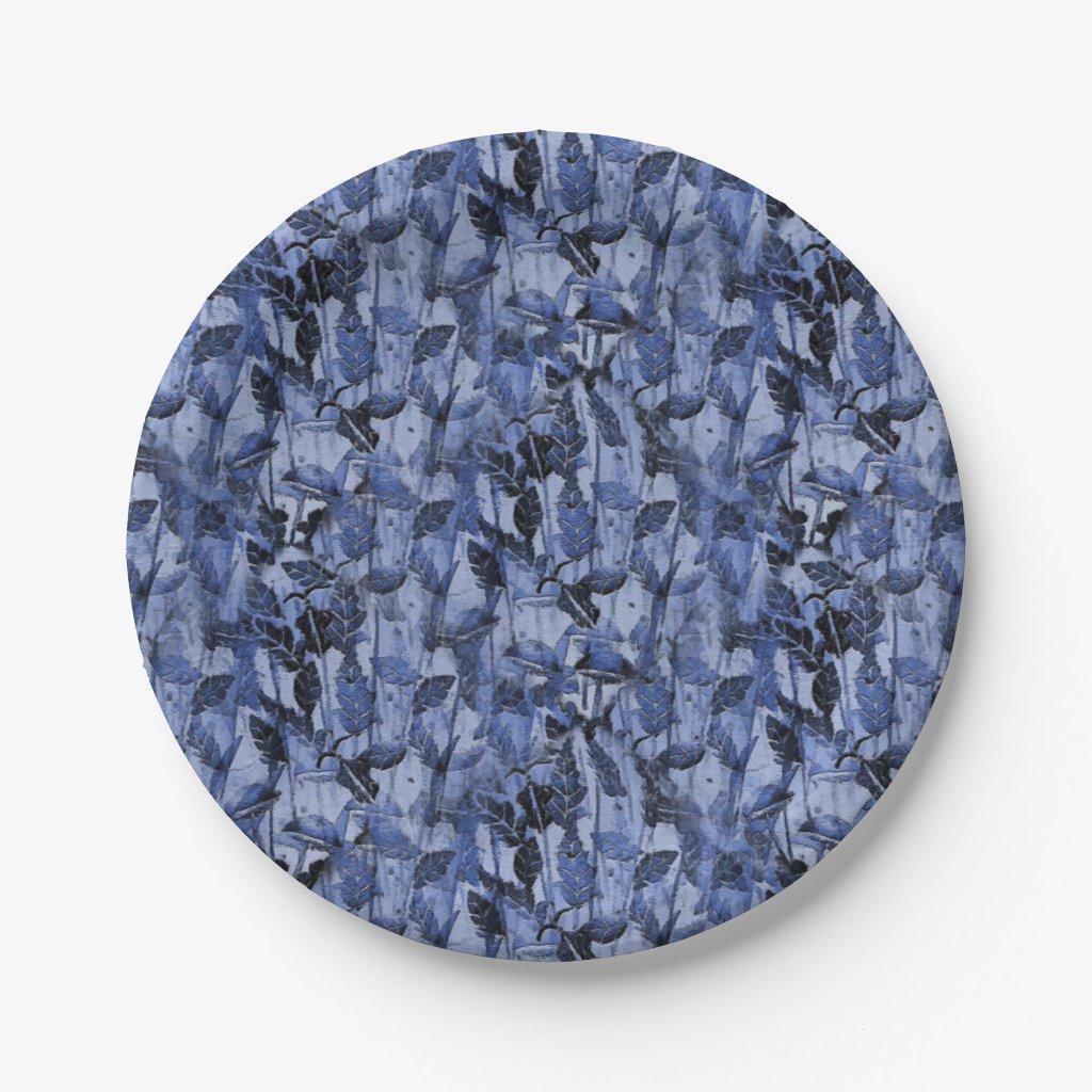 Blue Monoprint Nature Paper Plates