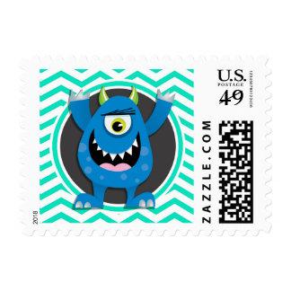 Blue Monster; Aqua Green Chevron Postage