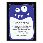Blue Monster Bash Thank You Card (Flat) Personalized Invitations