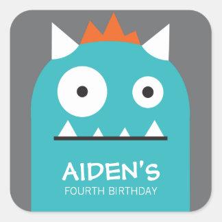 Blue Monster Birthday Sticker