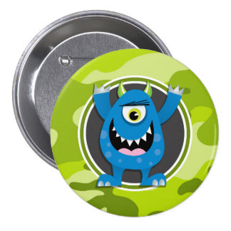 Blue Monster bright green camo camouflage Buttons