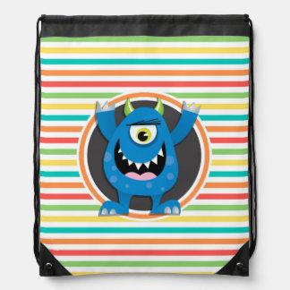 Blue Monster; Bright Rainbow Stripes Cinch Bag