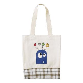 Blue monster cartoon zazzle HEART tote bag