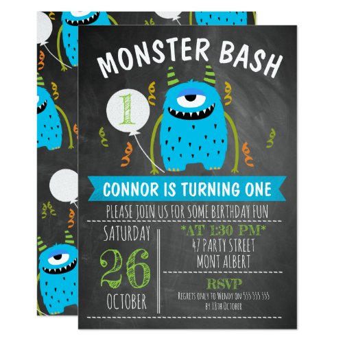 Blue Monster Chalkboard Birthday invitation
