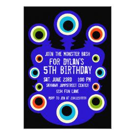 Blue Monster Eyes Birthday Party Invitations