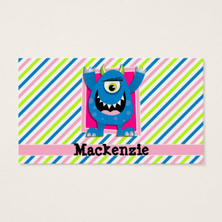 Blue Monster;  Neon Green, Pink, White Stripes Business Card