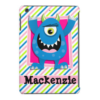 Blue Monster;  Neon Green, Pink, White Stripes iPad Mini Covers