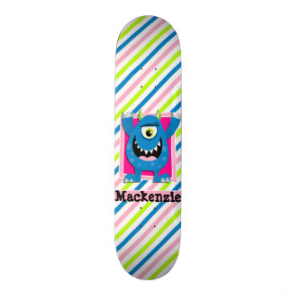 Blue Monster;  Neon Green, Pink, White Stripes Skateboard Deck