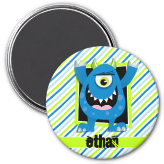 Blue Monster;  Neon Green, White Stripes 3 Inch Round Magnet