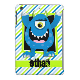 Blue Monster;  Neon Green, White Stripes iPad Mini Cover