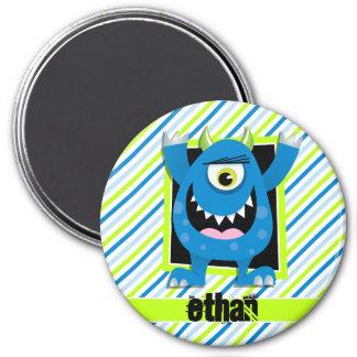 Blue Monster;  Neon Green, White Stripes Magnet