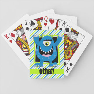 Blue Monster;  Neon Green, White Stripes Playing Cards