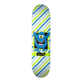 Blue Monster;  Neon Green, White Stripes Skateboard