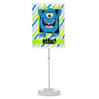 Blue Monster;  Neon Green, White Stripes Table Lamp