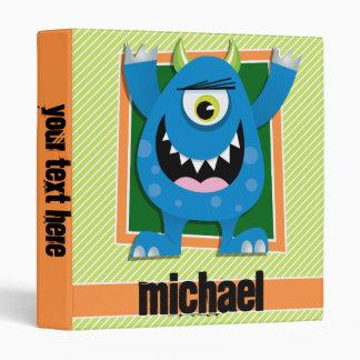 Blue Monster on Lime Green & White Stripes 3 Ring Binder