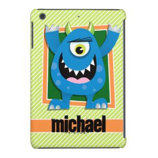 Blue Monster on Lime Green & White Stripes iPad Mini Retina Case