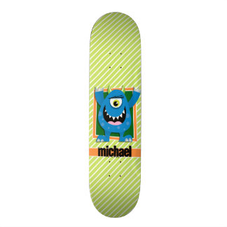 Blue Monster on Lime Green & White Stripes Skate Boards