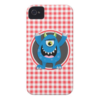 Blue Monster on Red and White Gingham Case-Mate iPhone 4 Case