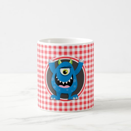 Blue Monster on Red and White Gingham Mug