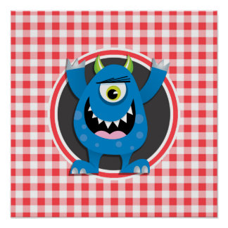 Blue Monster on Red and White Gingham Posters